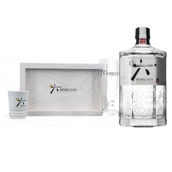 Roku Gin Paket mit Servierbrett, Glas und Sake-Becher