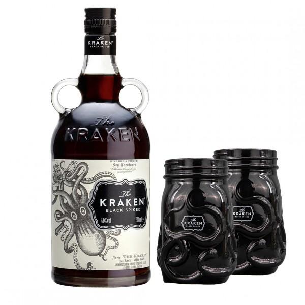 Kraken Black Spiced Rum mit 2 schwarzen Gläsern 0,70l