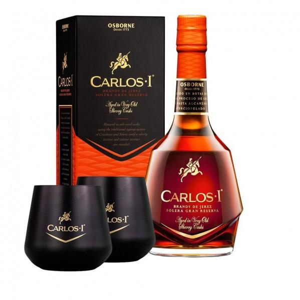 Carlos I Brandy mit 2 Gläsern de Jerez Solera Gran Reserva Bundle
